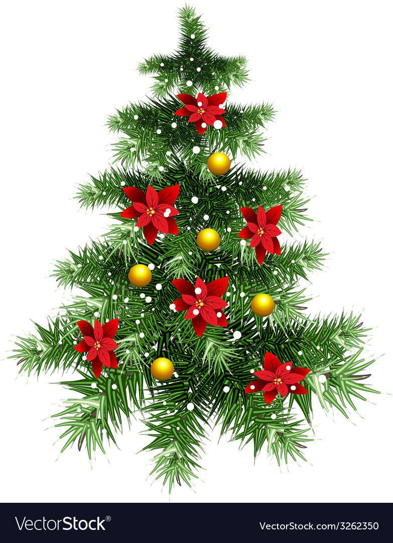 Fluffy green christmas tree with ornaments vector | Price: 1 Credit (USD $1)