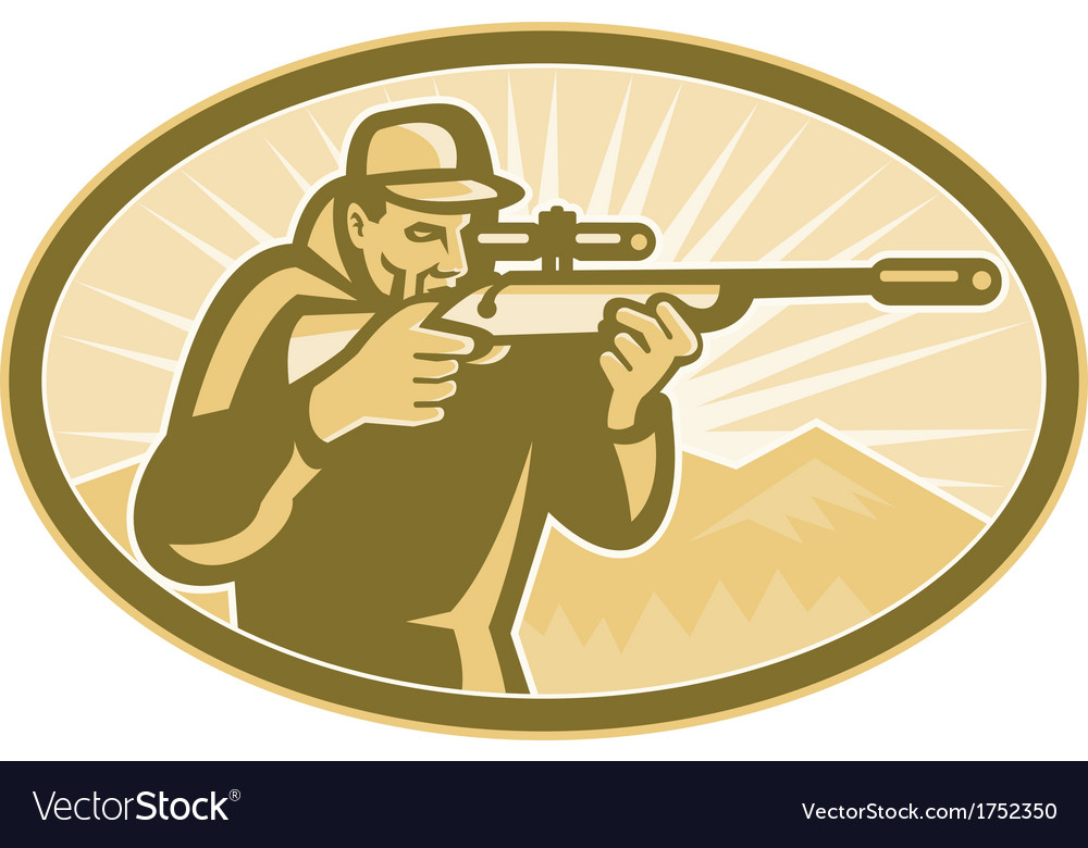Hunter aiming rifle oval retro vector | Price: 1 Credit (USD $1)