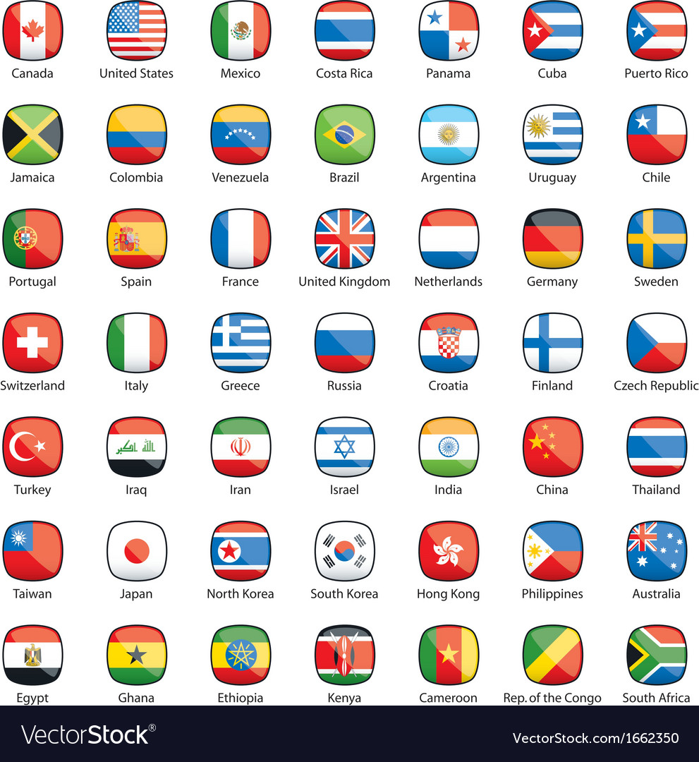 International flags buttons vector | Price: 1 Credit (USD $1)