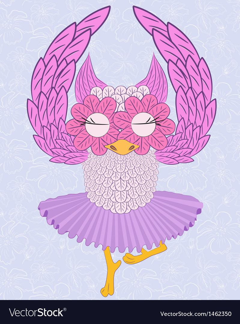 Owl ballerina vector | Price: 1 Credit (USD $1)