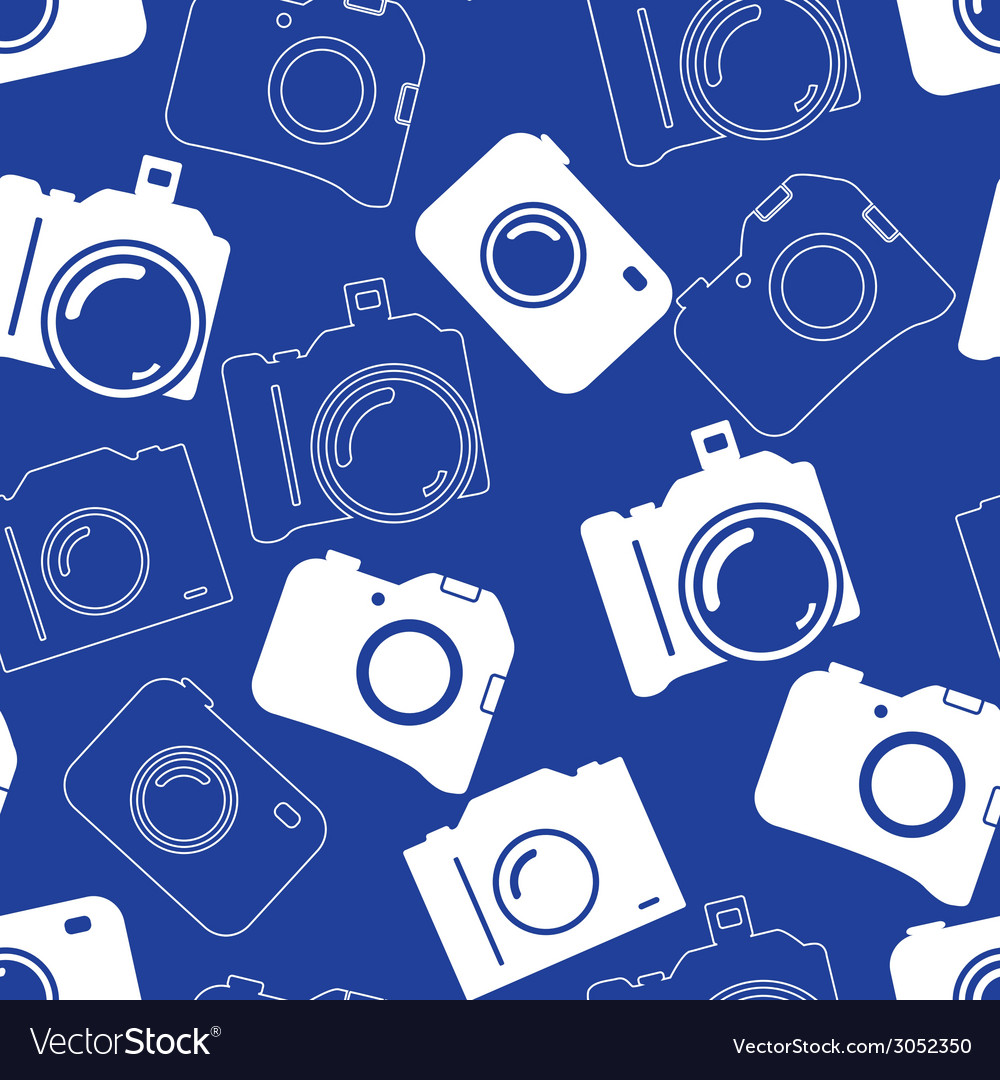 Seamless background with blue cameras vector | Price: 1 Credit (USD $1)