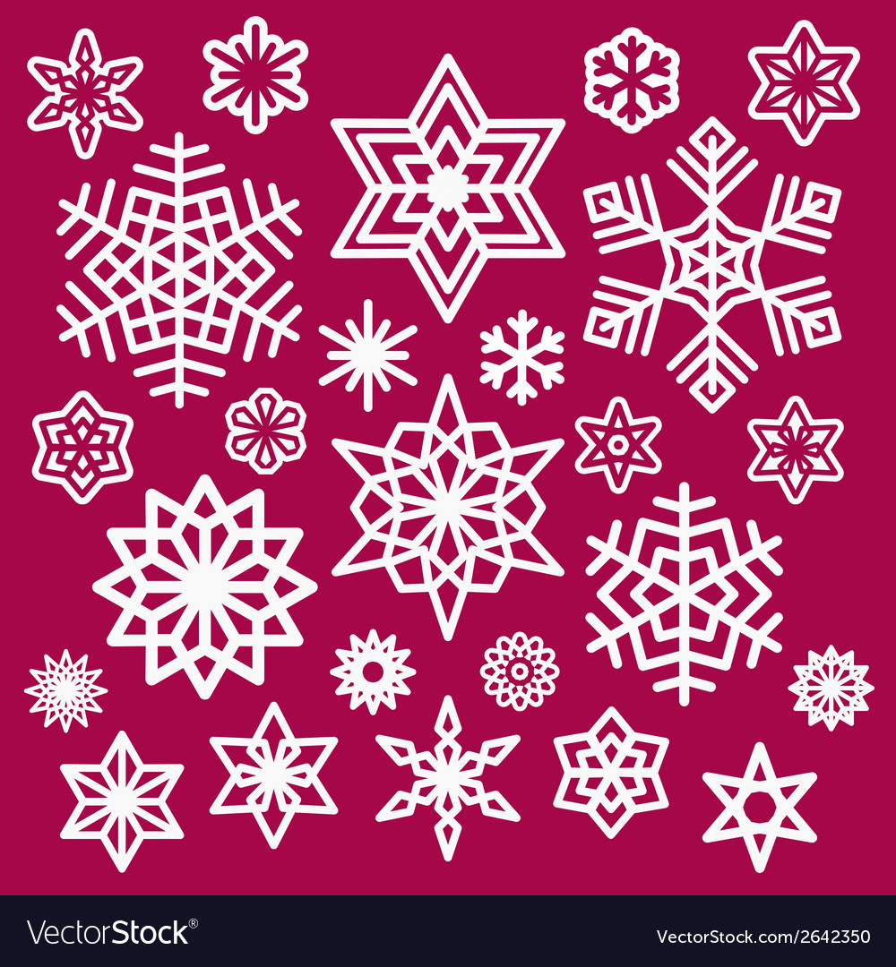 Set of white christmas snowflakes icons on wine vector | Price: 1 Credit (USD $1)