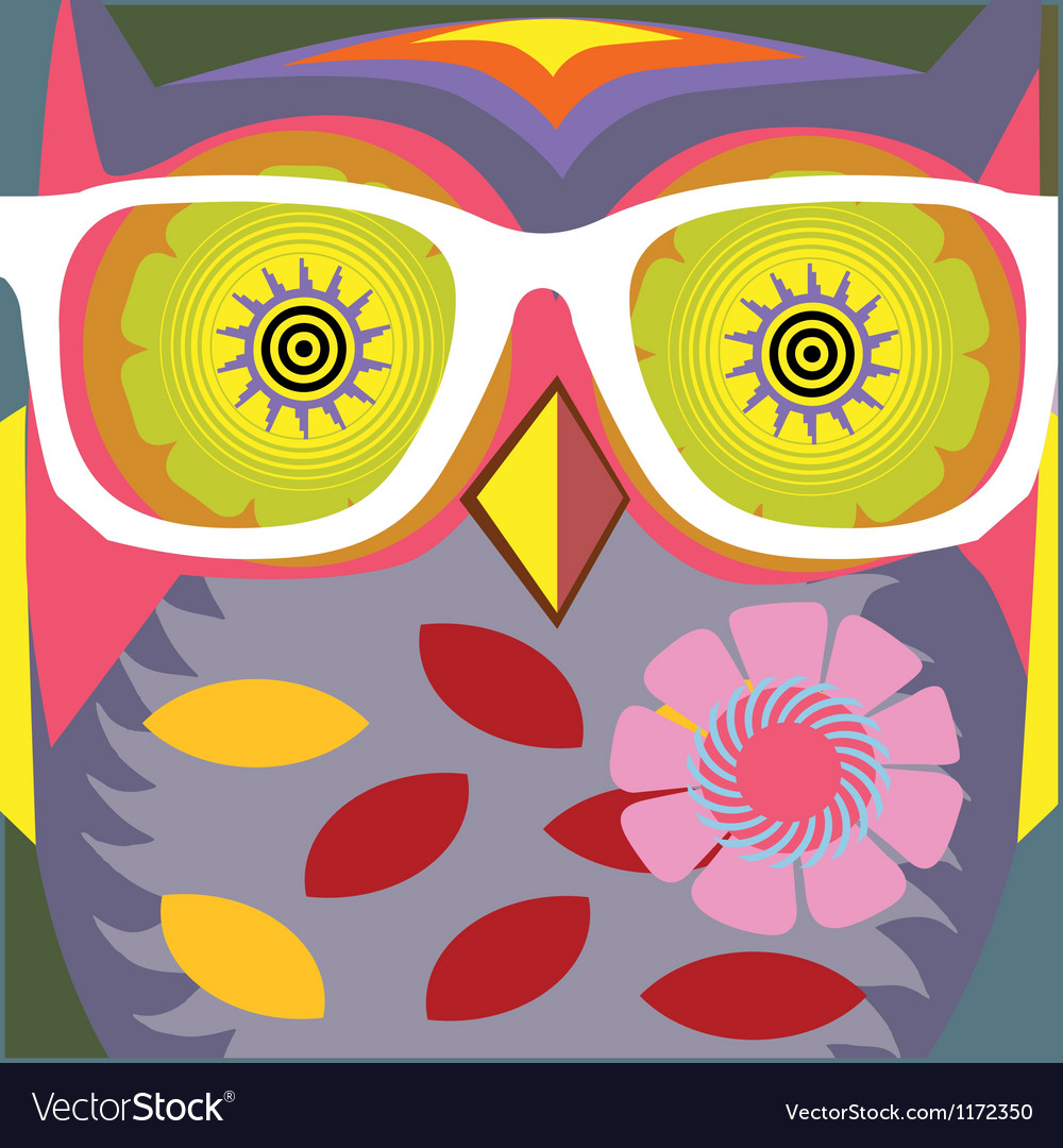 Vintage cartoon owl poster vector | Price: 1 Credit (USD $1)