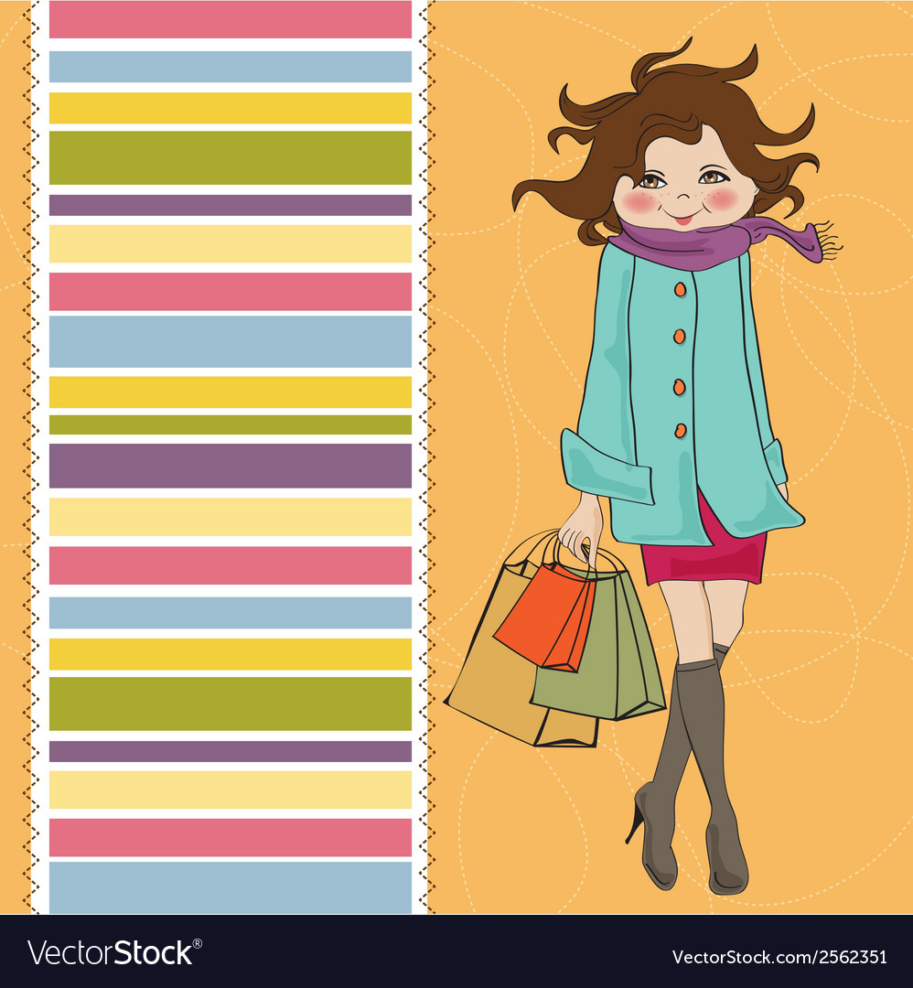 Beautiful young woman at shopping vector | Price: 1 Credit (USD $1)