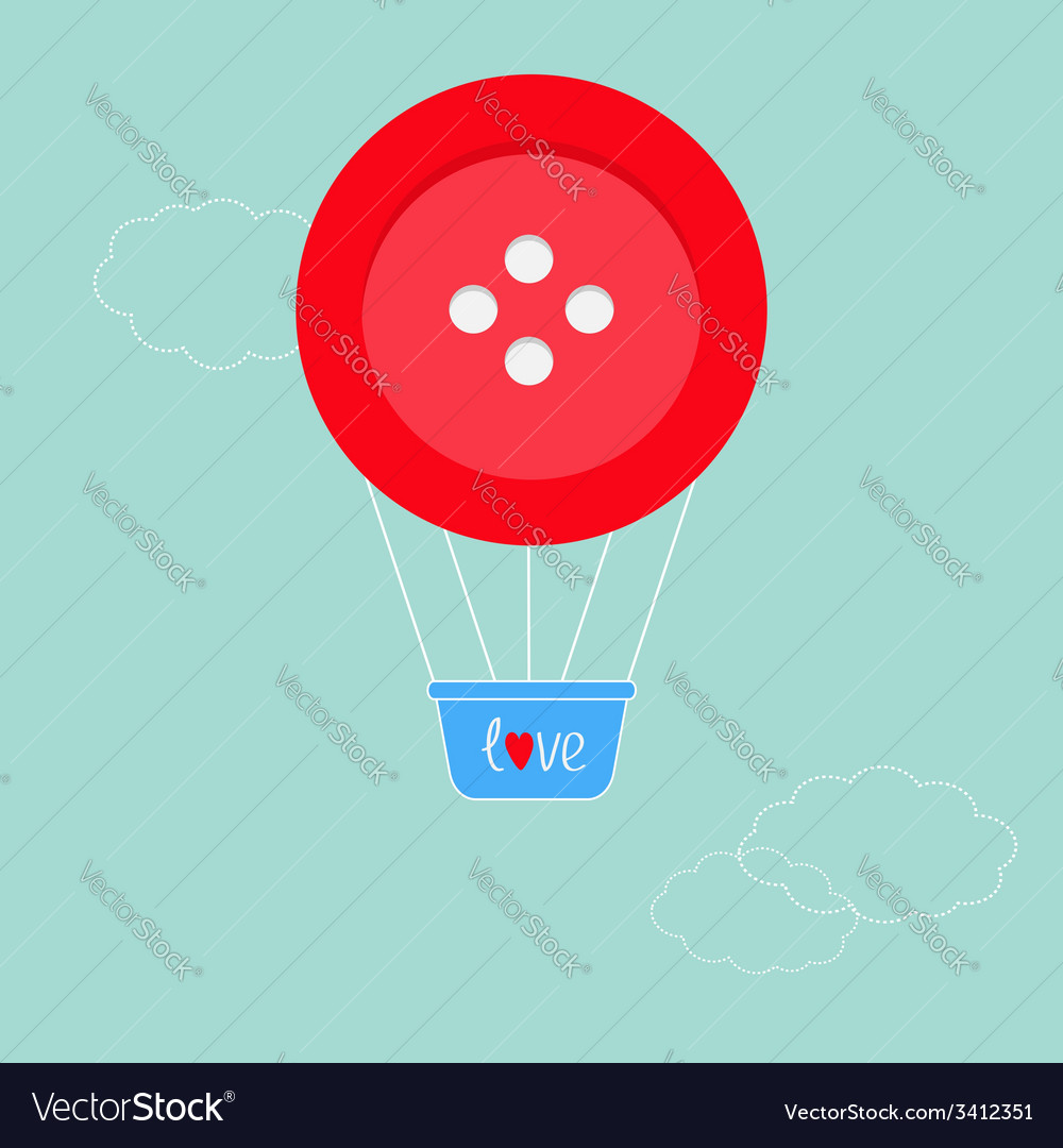 Big red button hot air balloon dash line clouds fl vector | Price: 1 Credit (USD $1)