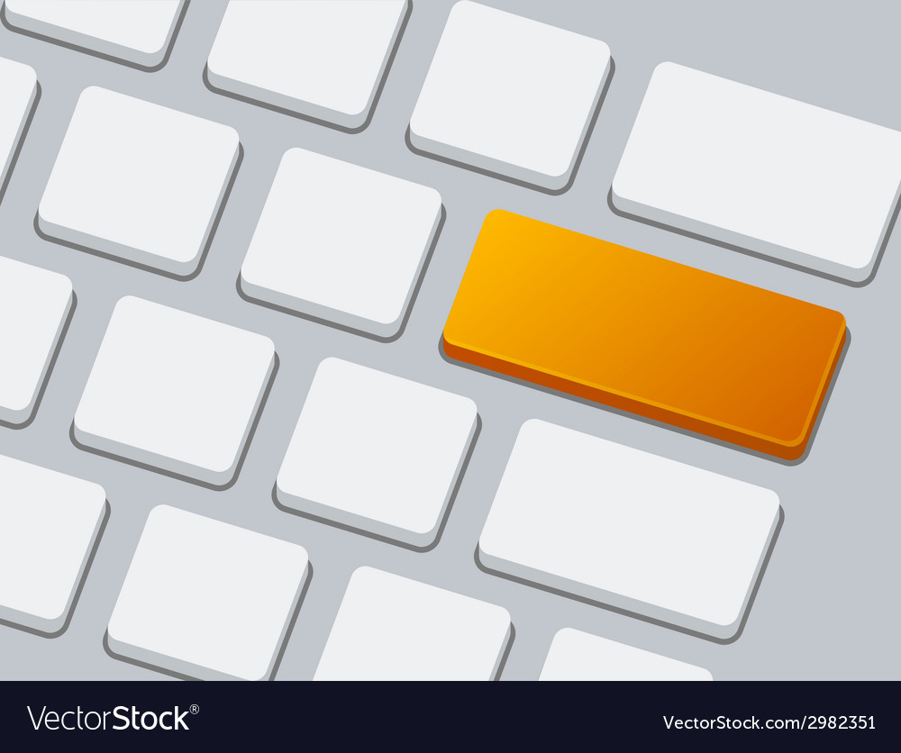 Close up of keyboard with one orange blank button vector | Price: 1 Credit (USD $1)