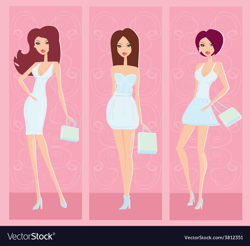 Fashion shopping girls set vector | Price: 1 Credit (USD $1)
