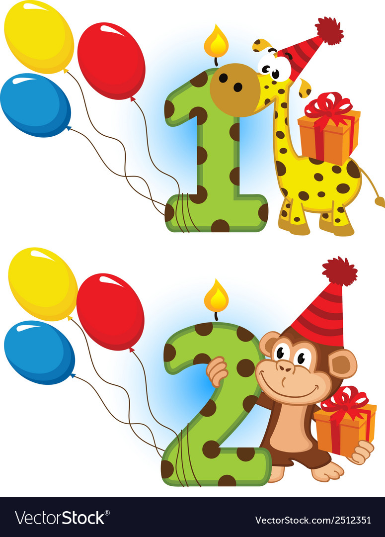 First second birthday with animal vector | Price: 1 Credit (USD $1)