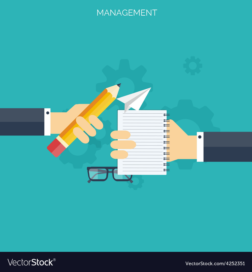 Flat management concept background teamwork vector | Price: 1 Credit (USD $1)