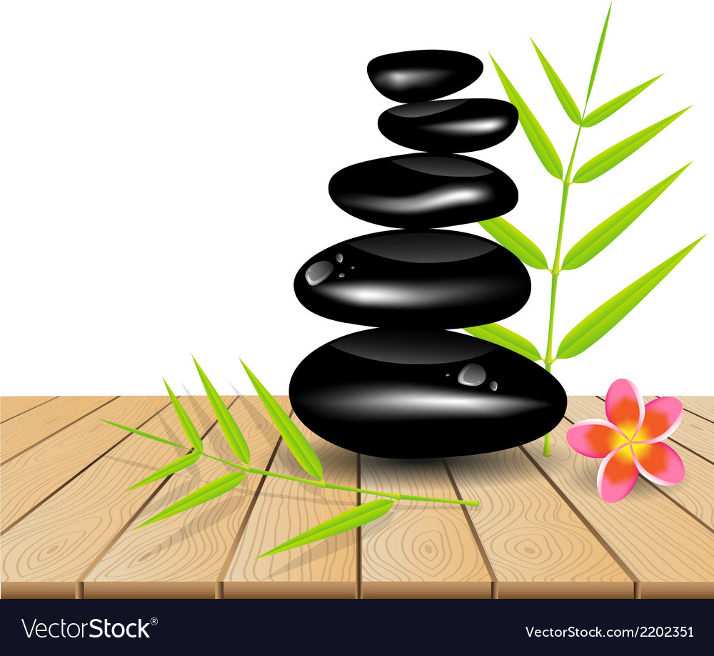 Hot stone massage on wooden table vector | Price: 1 Credit (USD $1)