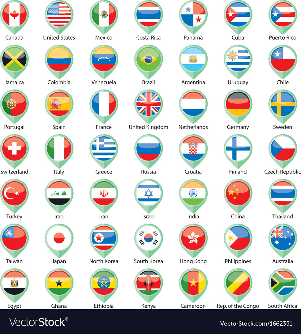 International flags pointer vector | Price: 1 Credit (USD $1)