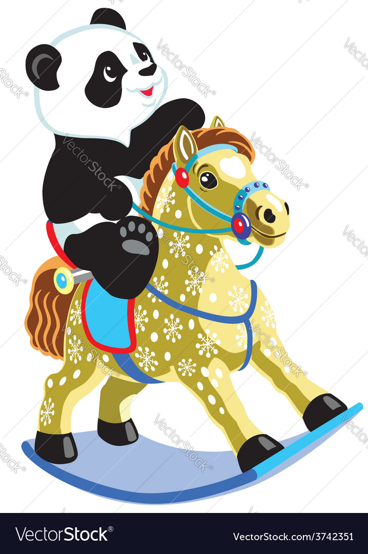 Panda riding a rocking horse vector | Price: 3 Credit (USD $3)