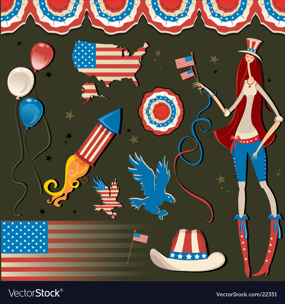 Retro national american symbolic vector | Price: 3 Credit (USD $3)