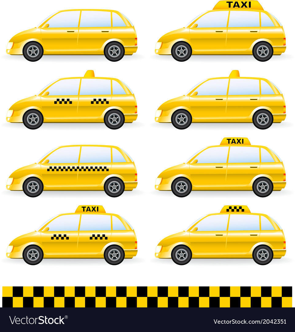 Set of isolated taxi car vector | Price: 1 Credit (USD $1)