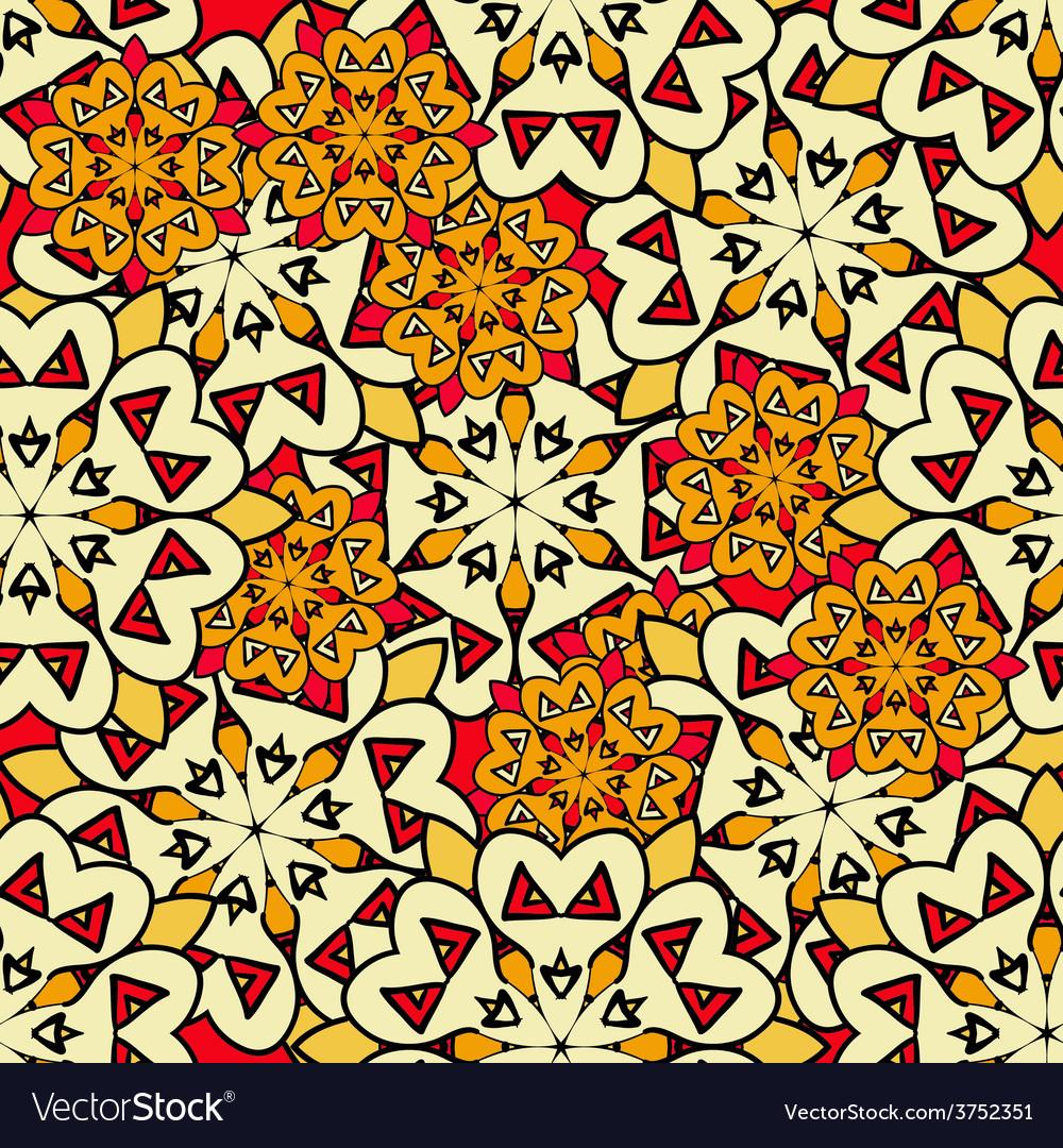 Yellow mandalas seamless background endless vector | Price: 1 Credit (USD $1)