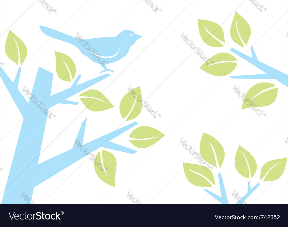 Bird on tree branch vector | Price: 1 Credit (USD $1)