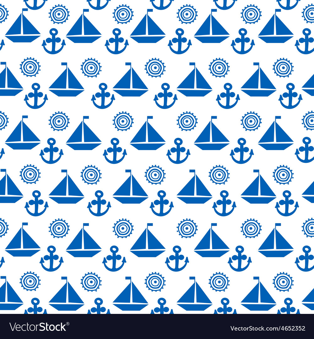 Cartoon seamless pattern with sail boats anchors vector | Price: 1 Credit (USD $1)