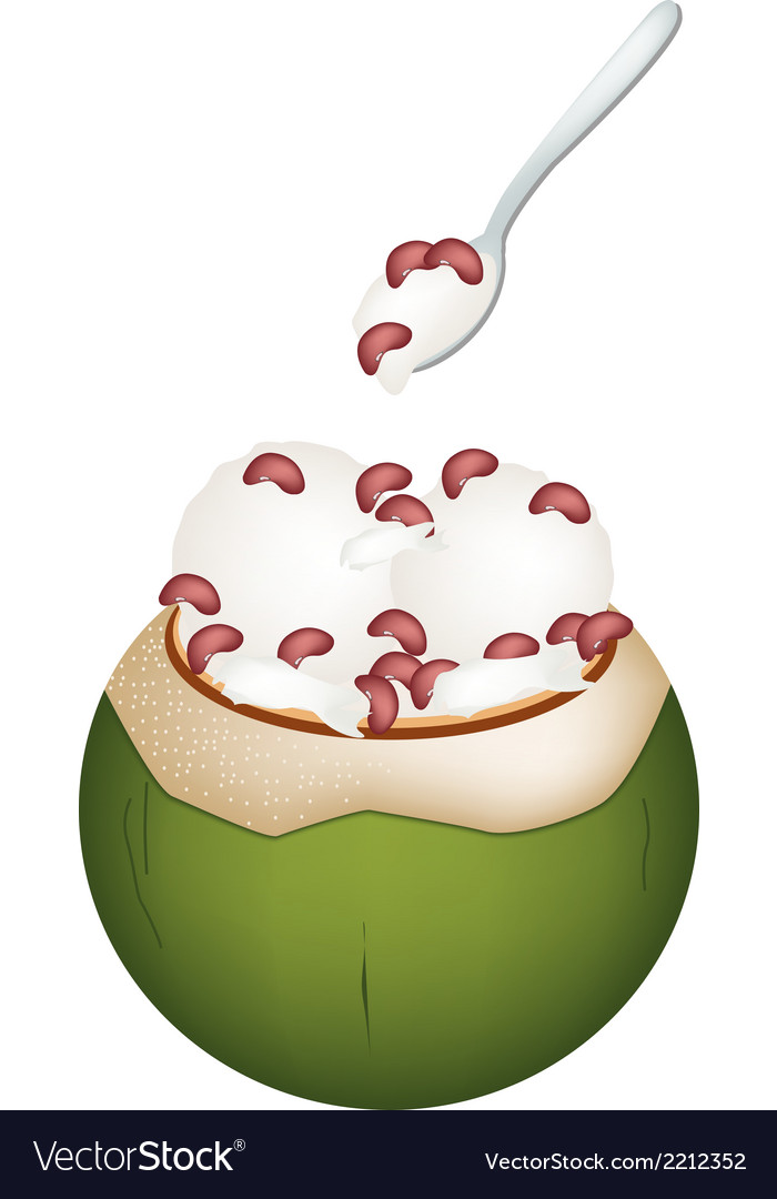 Coconut ice cream with kidney beans vector | Price: 1 Credit (USD $1)