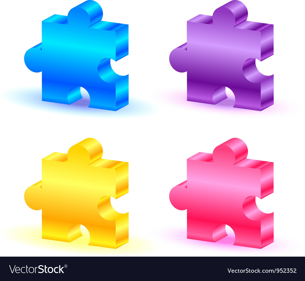 Colorful puzzle pieces vector | Price: 1 Credit (USD $1)