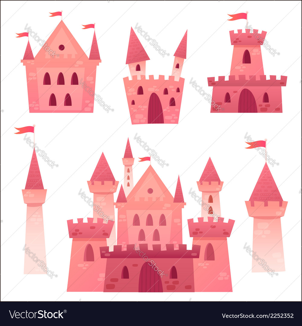 Cute cartoon medieval castle and set of towers vector | Price: 1 Credit (USD $1)