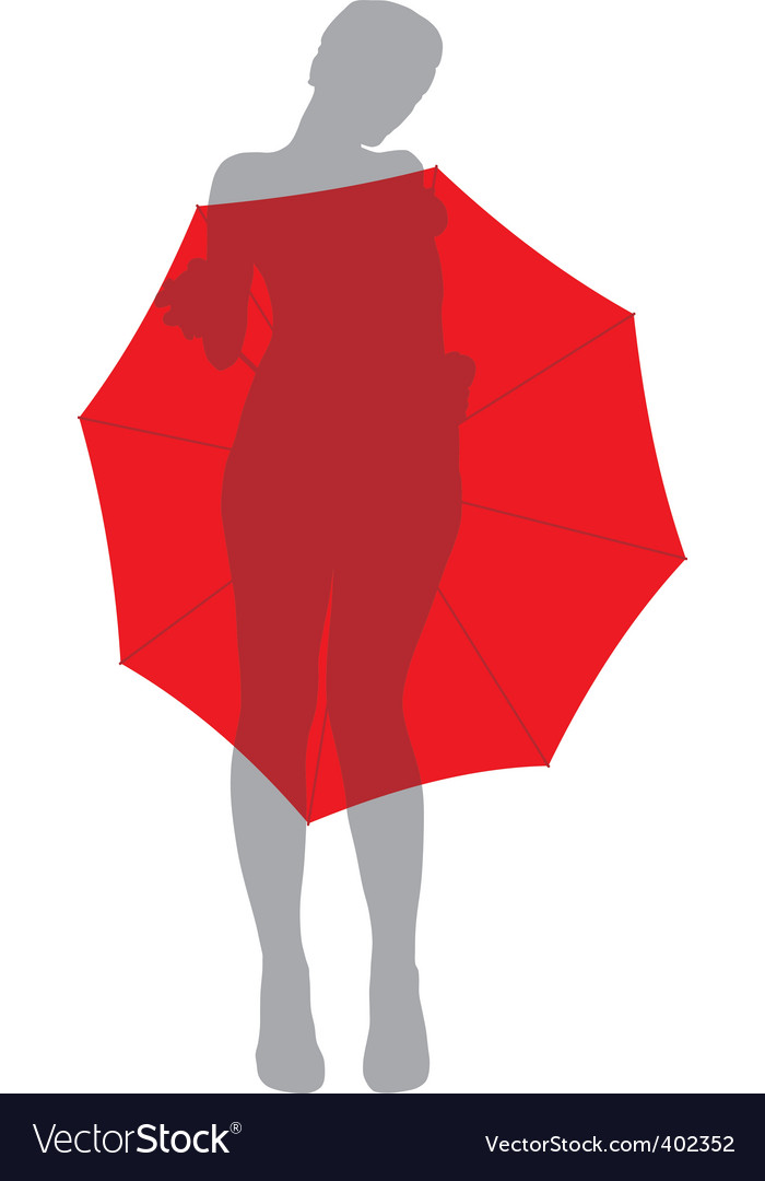 Girl behind umbrella vector | Price: 1 Credit (USD $1)