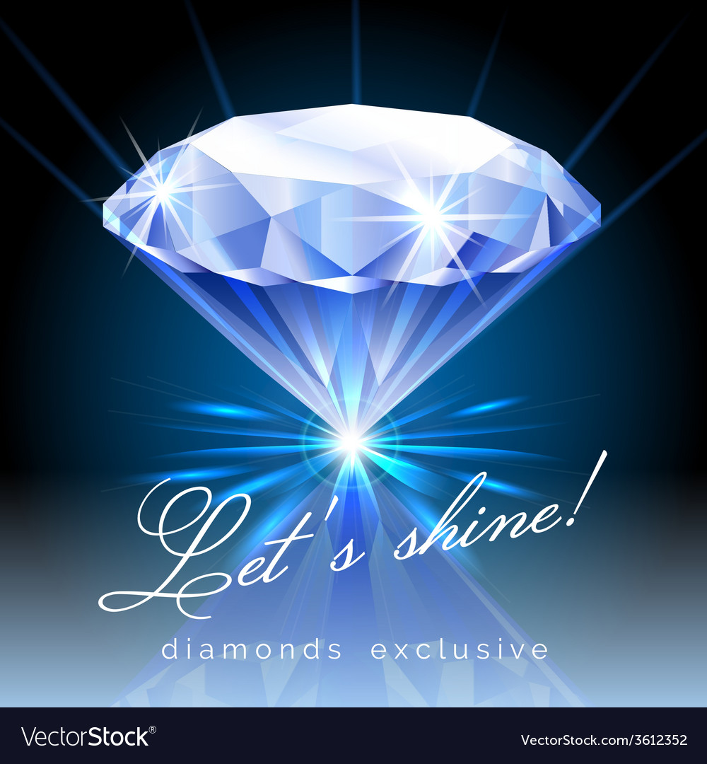 Graphic of shining diamond with text vector | Price: 1 Credit (USD $1)