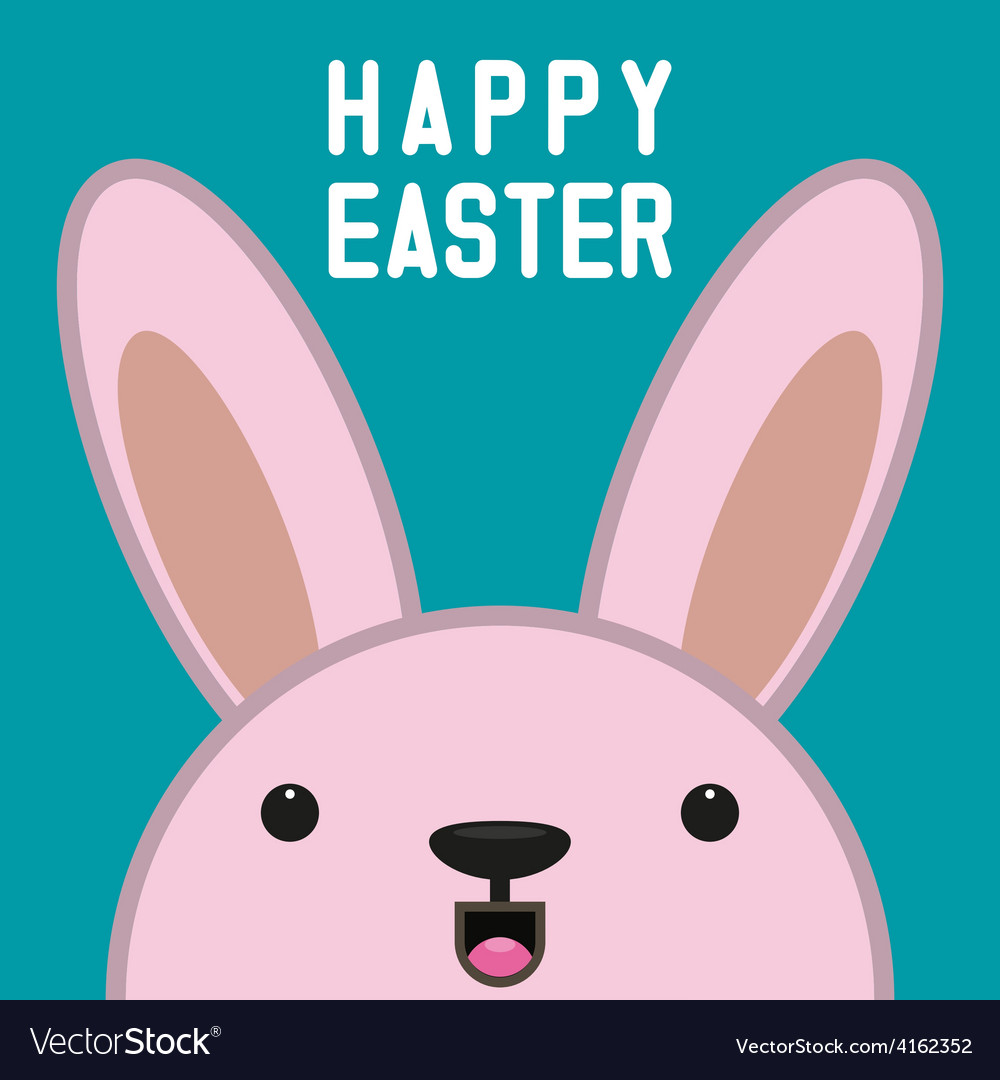 Hiding easter bunny card vector | Price: 1 Credit (USD $1)