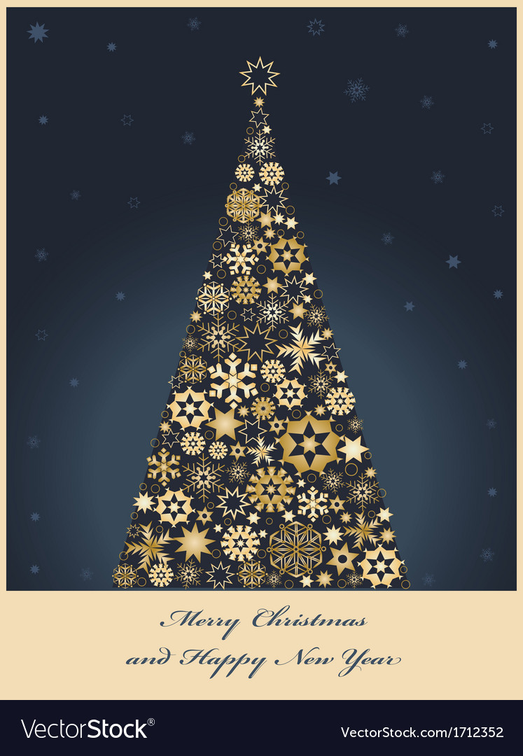 Tree from golden snowflakes vector | Price: 1 Credit (USD $1)