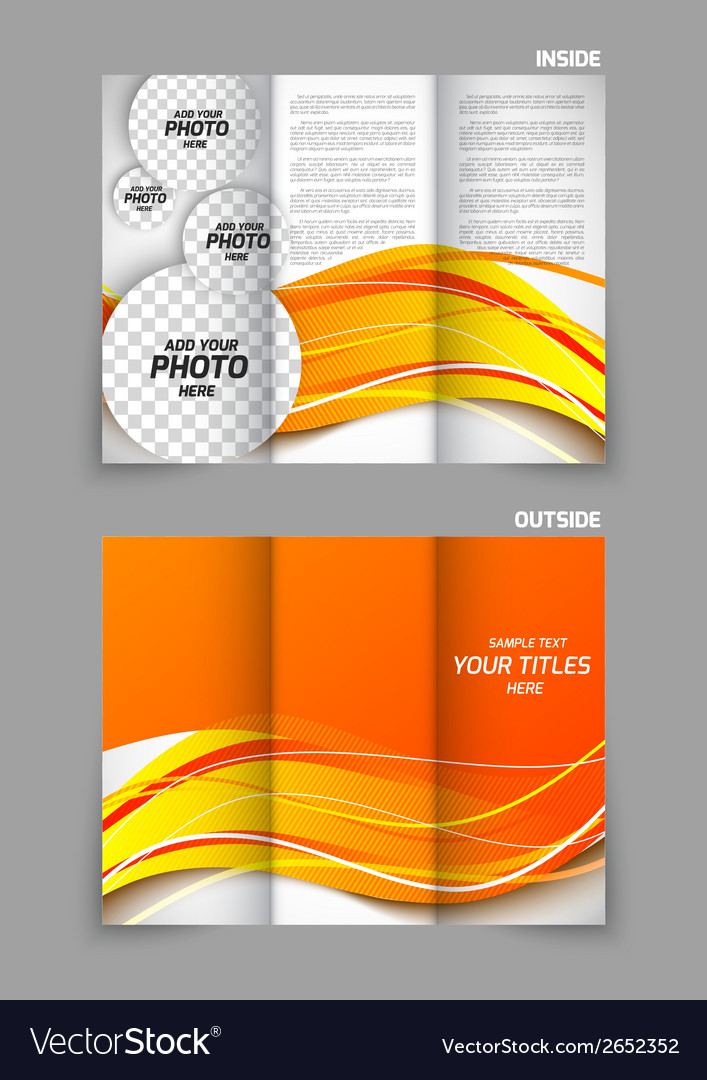 Tri-fold brochure in orange color vector | Price: 1 Credit (USD $1)