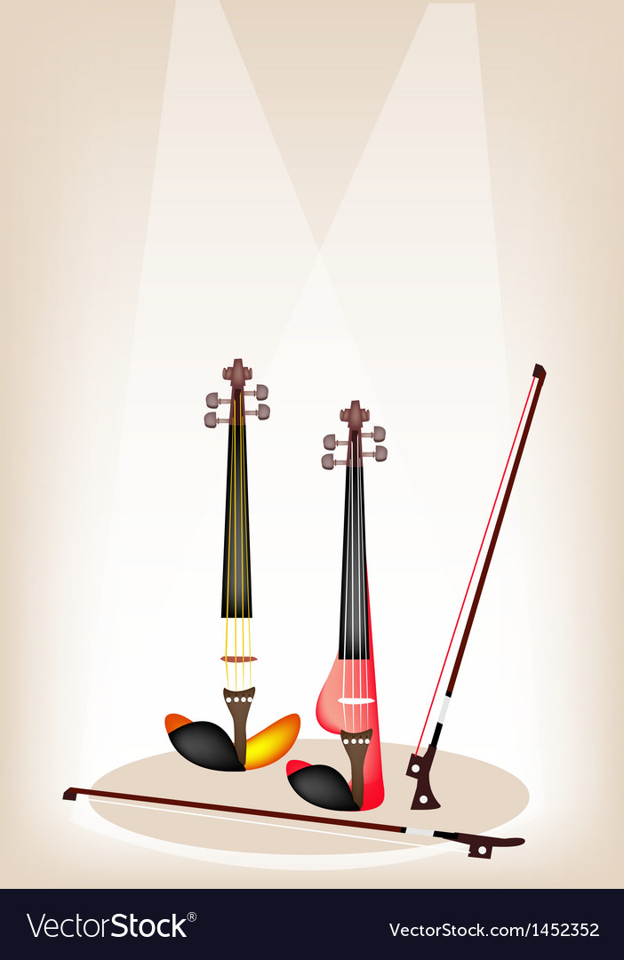 Two beautiful modern violins on stage vector | Price: 1 Credit (USD $1)