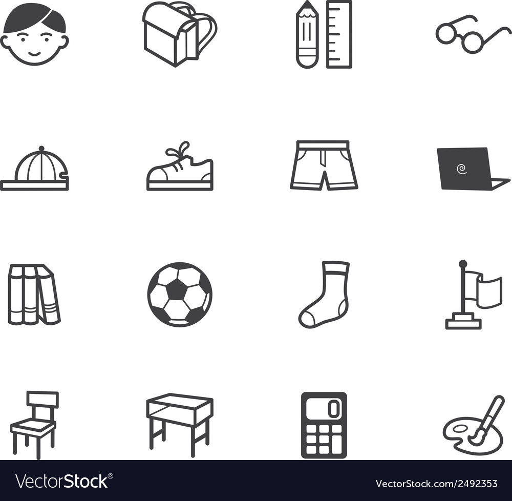 Boy school black icon set on white background vector | Price: 1 Credit (USD $1)