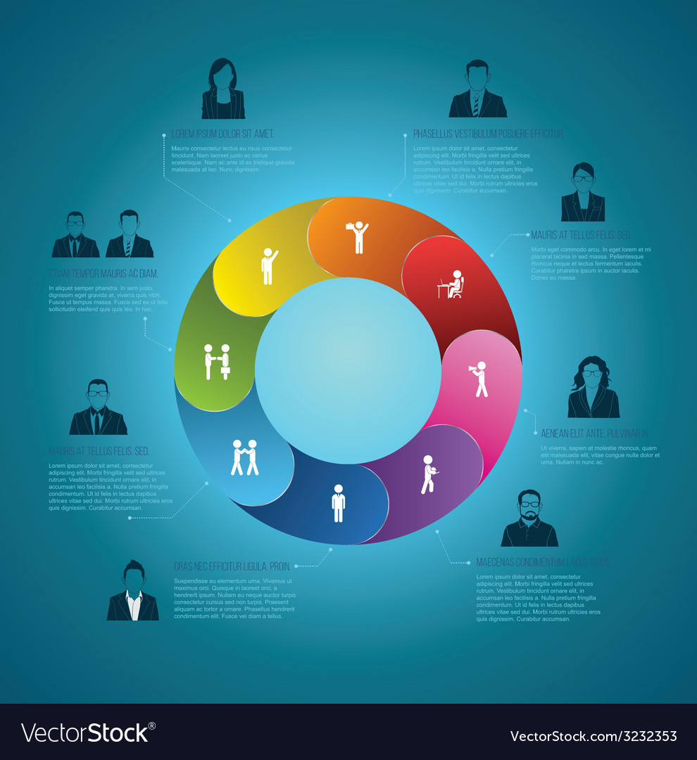 Circle info-graphic step with business man icons vector | Price: 1 Credit (USD $1)