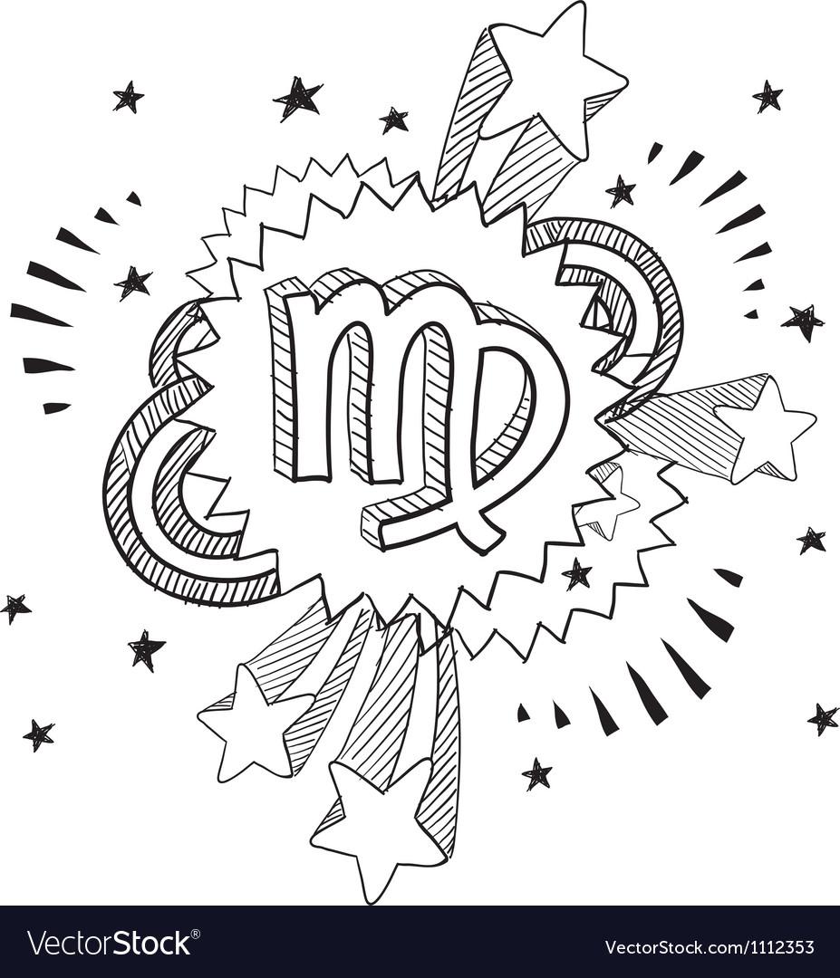 Doodle pop astrology virgo vector | Price: 1 Credit (USD $1)