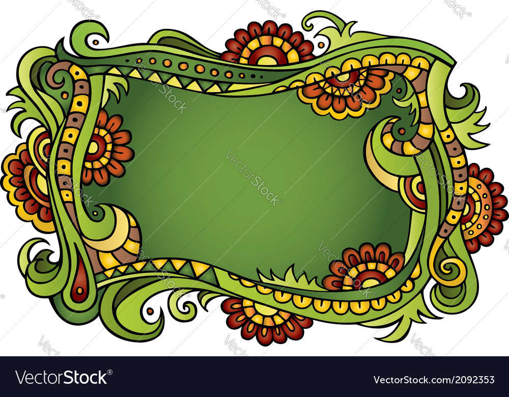 Fantasy fairy-tale floral frame vector | Price: 1 Credit (USD $1)