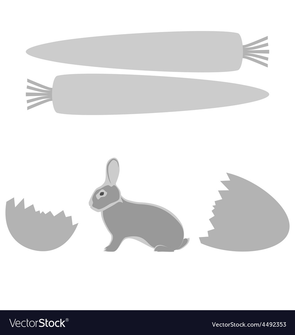 Grey rabbit hatched from an egg and carrot frames vector   Price: 1 Credit (USD $1)
