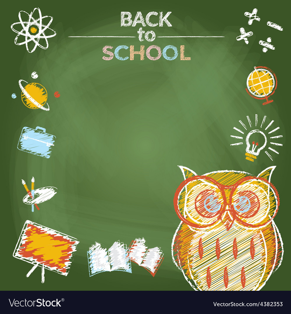 School education owl with icons frame vector | Price: 1 Credit (USD $1)