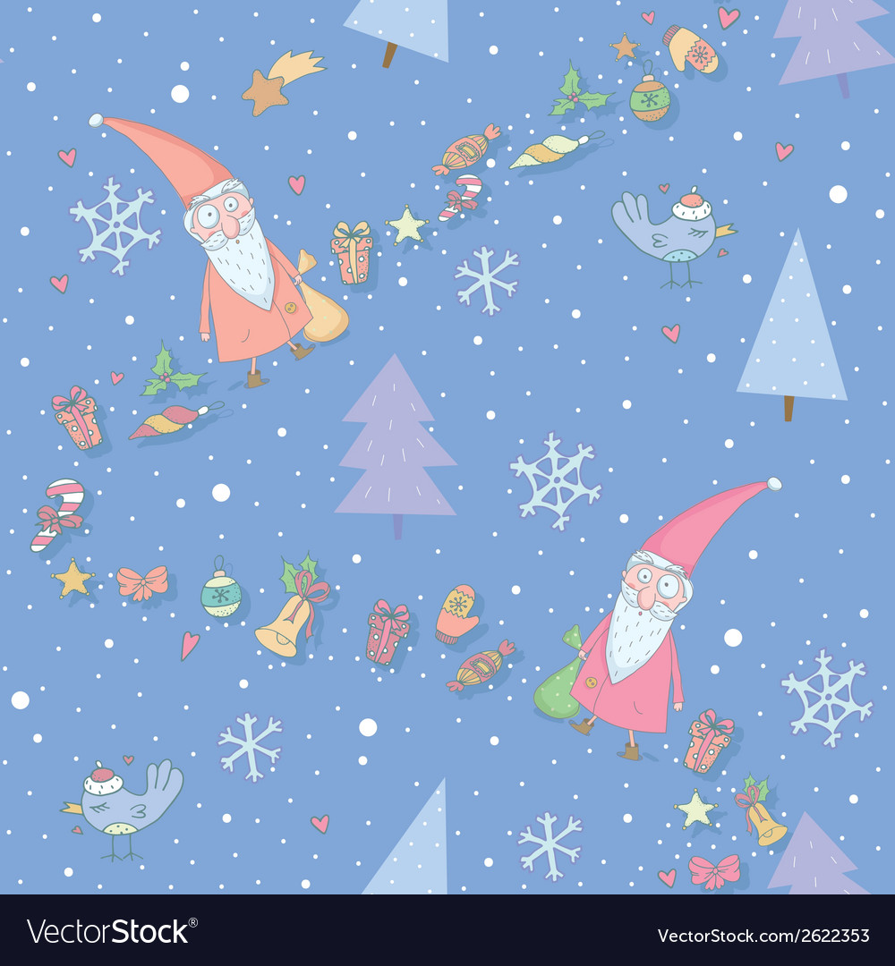 Seamless pattern with santa claus vector | Price: 1 Credit (USD $1)