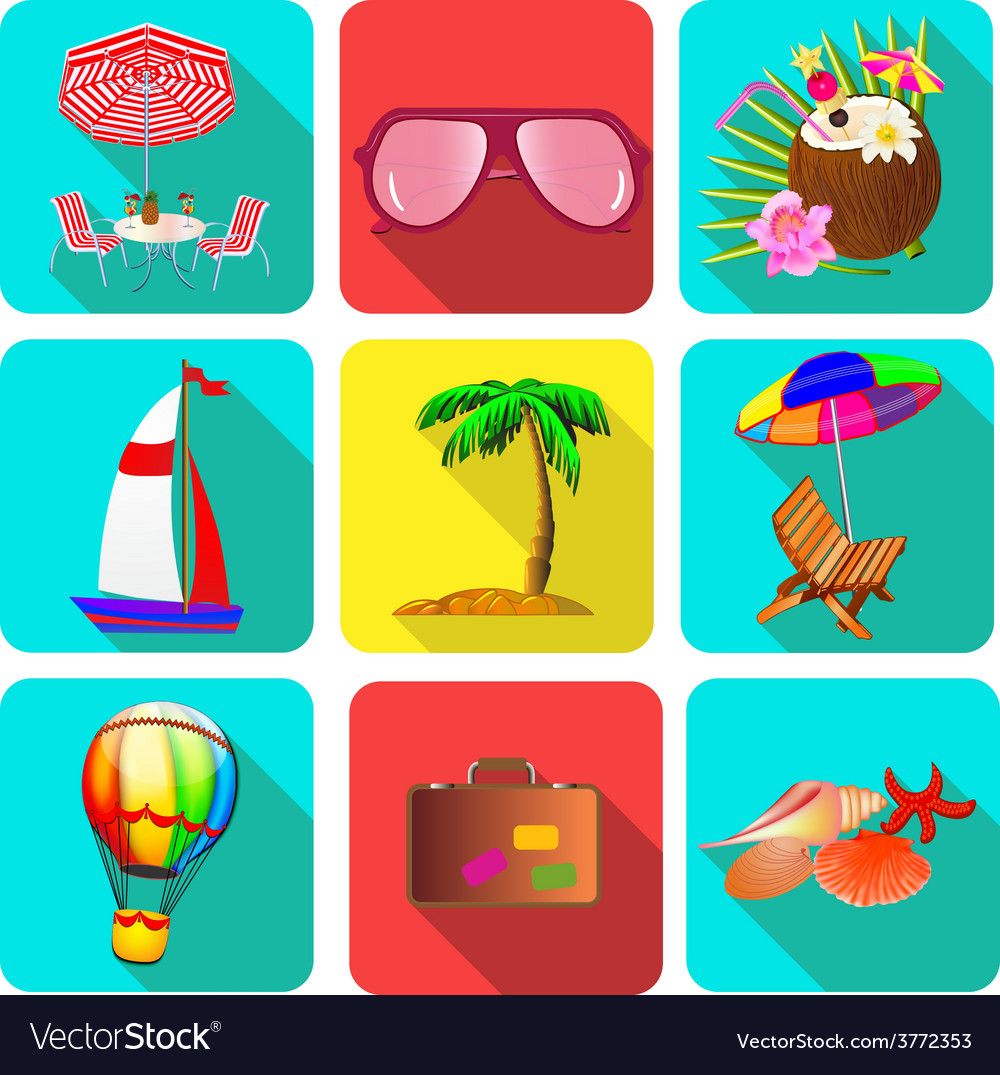 Set of icons on a theme vacation with sunglasses vector | Price: 1 Credit (USD $1)