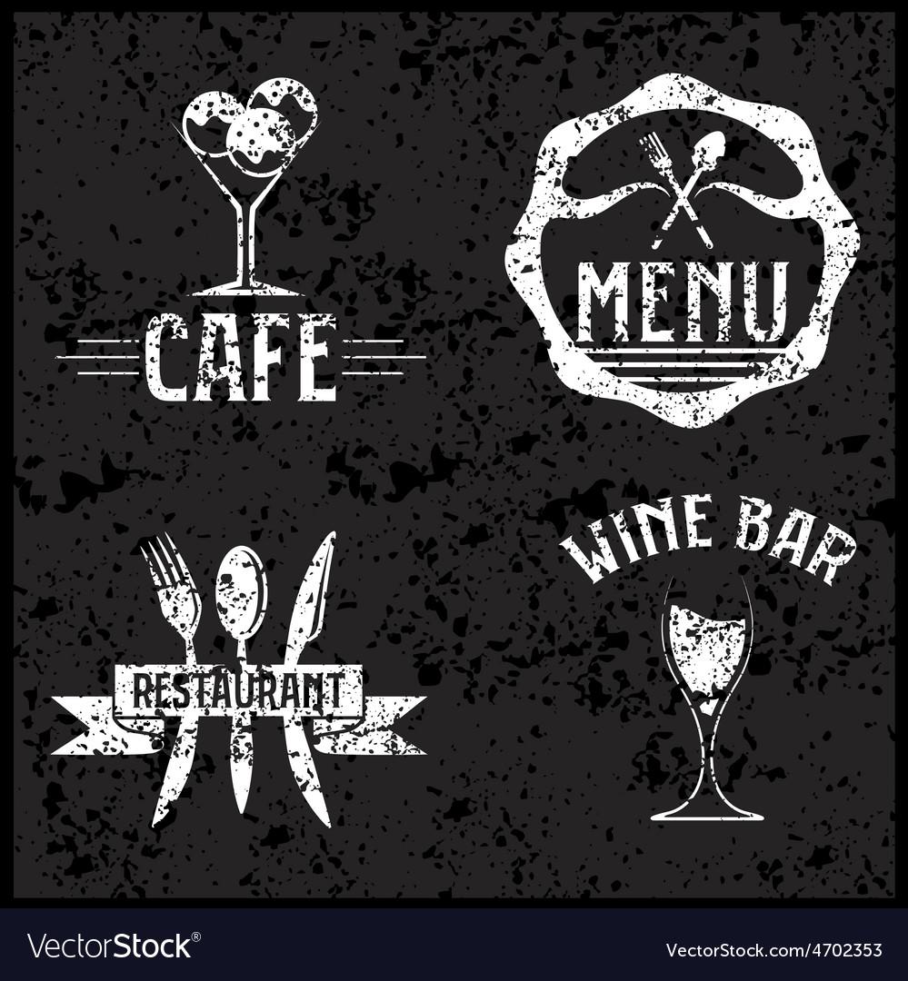 Set of vintage cafe and restaurant grunge emblems vector   Price: 1 Credit (USD $1)