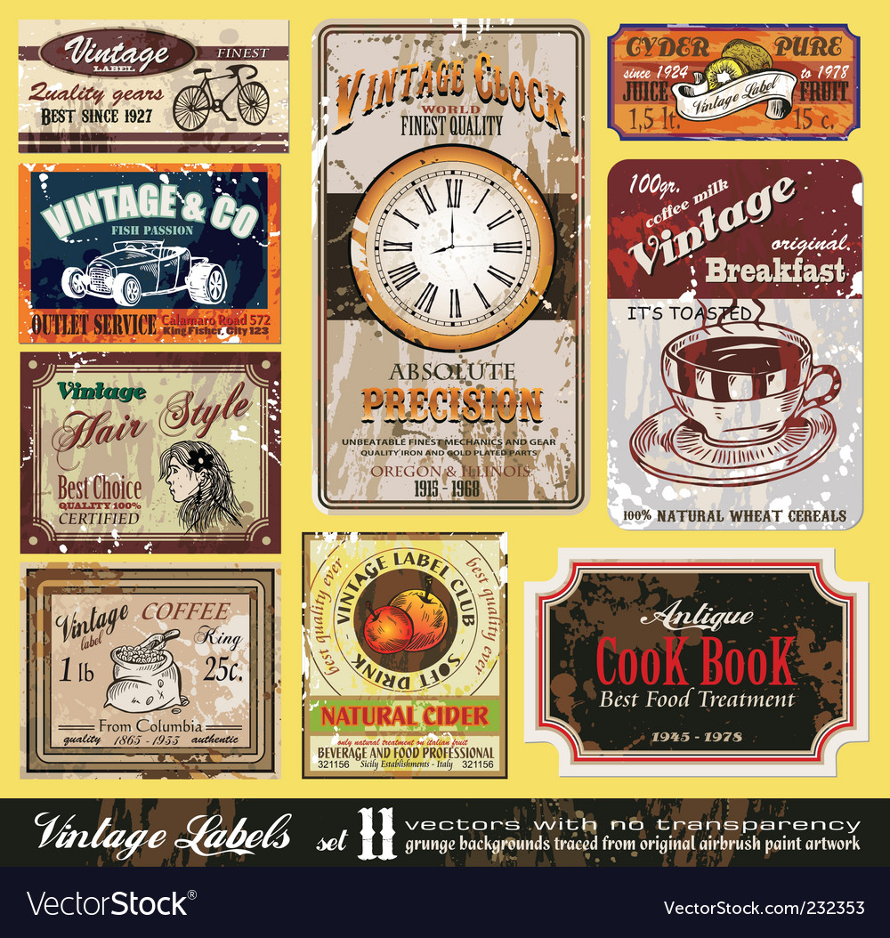 Vintage labels set vector | Price: 5 Credit (USD $5)