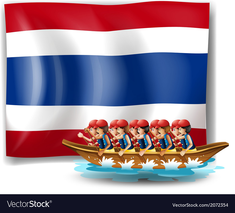 A boat with men near the flag of thailand vector | Price: 1 Credit (USD $1)