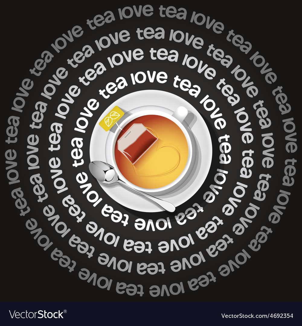A cup of heart in tea with tea bag vector | Price: 3 Credit (USD $3)