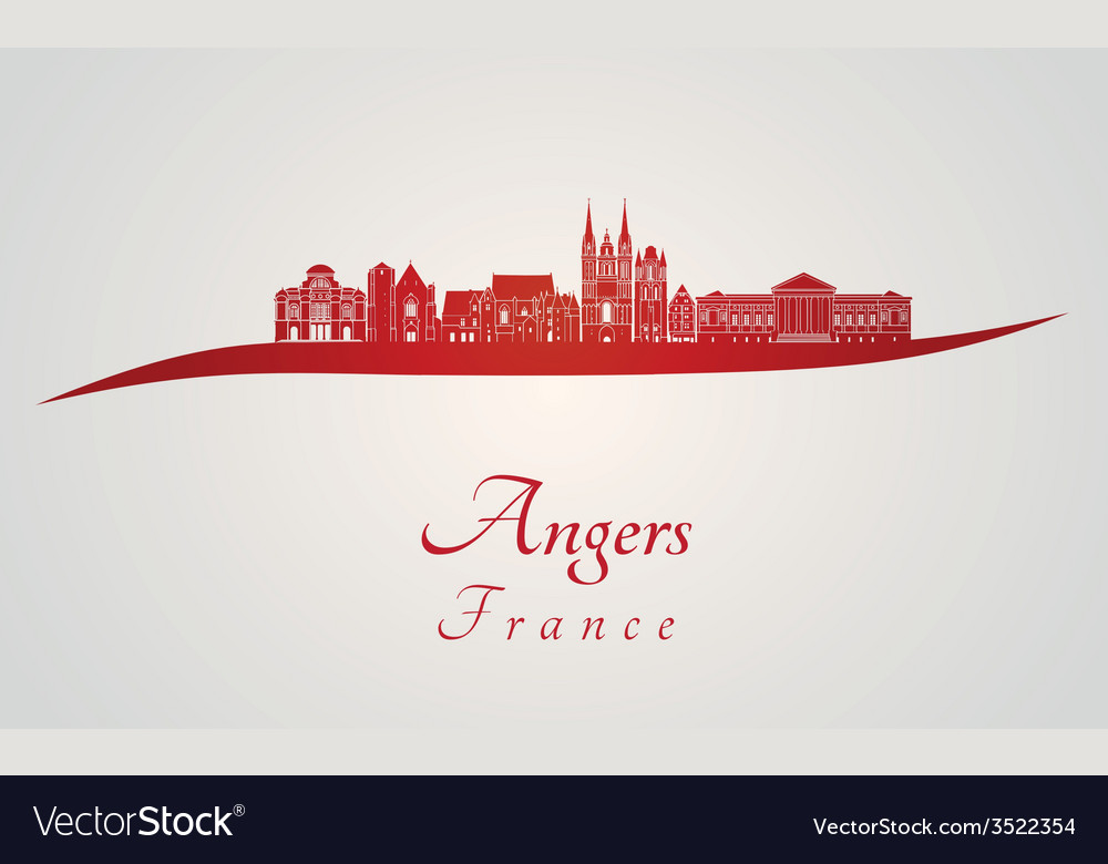 Angers skyline in red vector | Price: 1 Credit (USD $1)