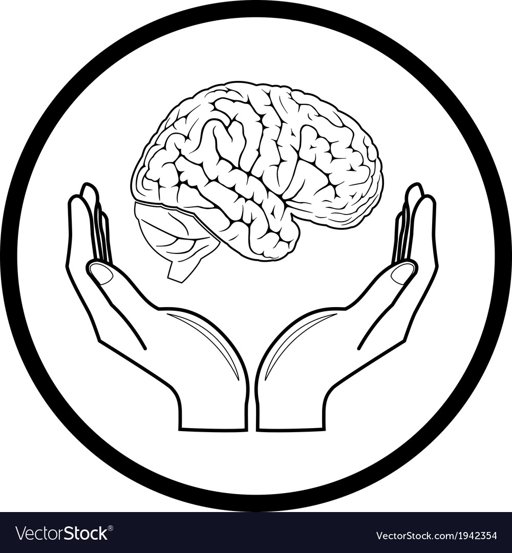 Brain in hands icon vector | Price: 1 Credit (USD $1)