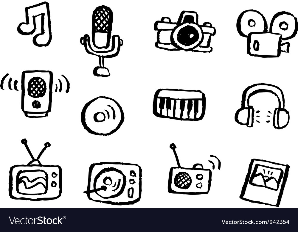 Doodle series media vector | Price: 1 Credit (USD $1)