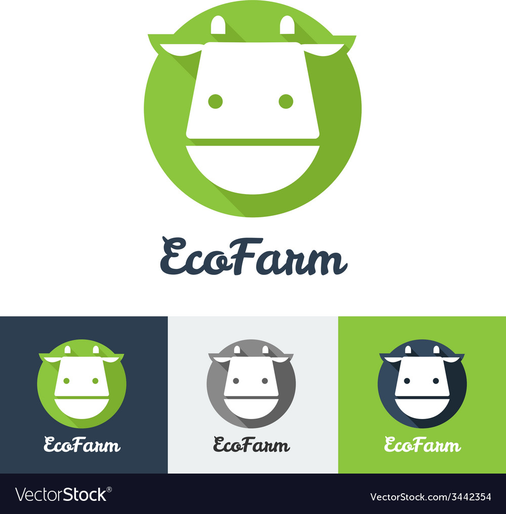 Flat modern minimalistic cow logo vector | Price: 1 Credit (USD $1)