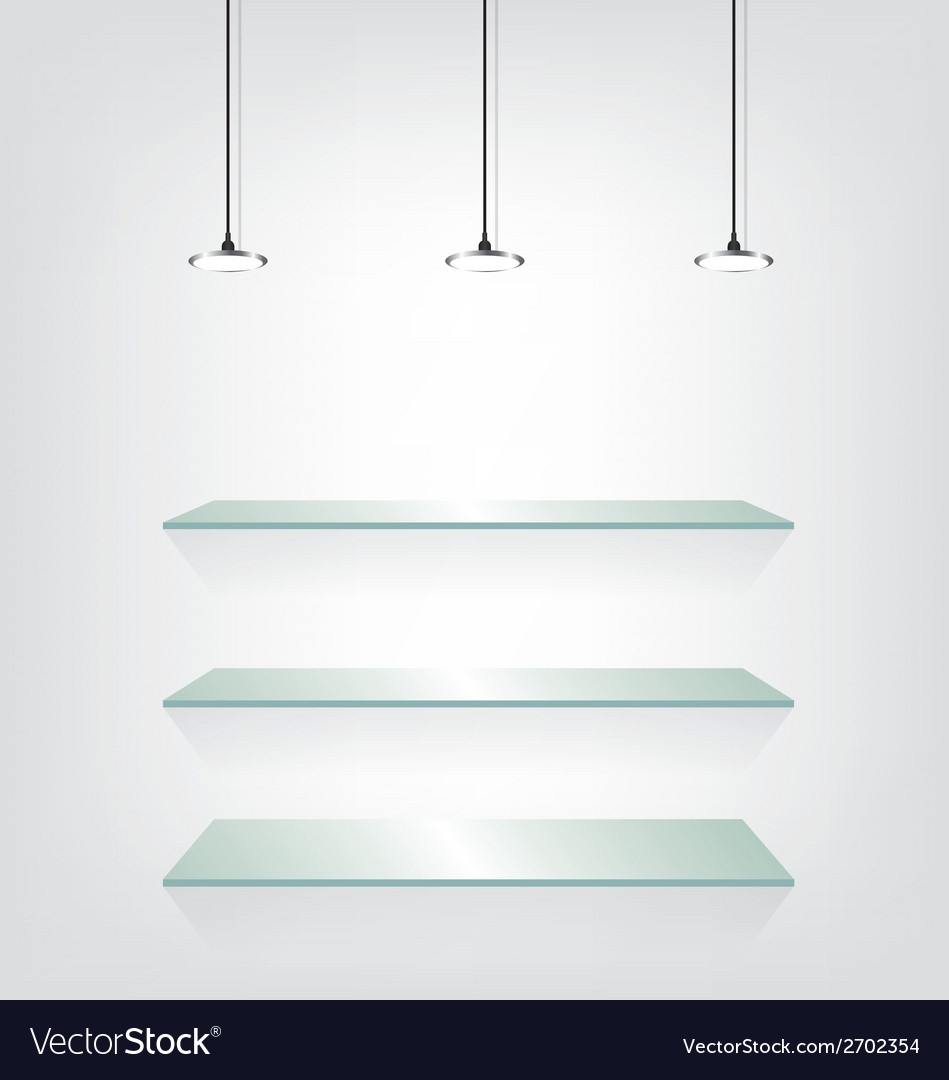 Glass shelves with spot light vector   Price: 1 Credit (USD $1)