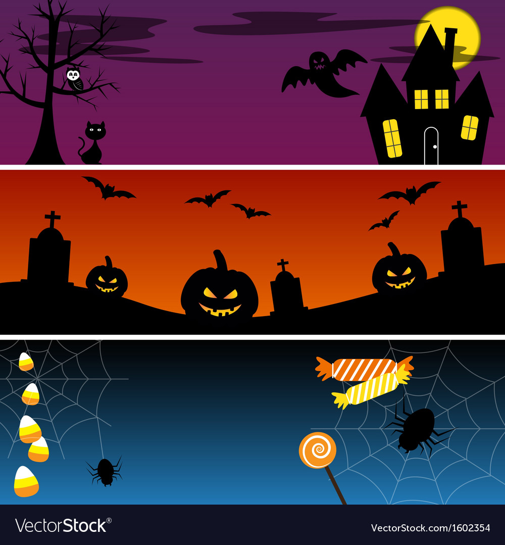 Halloween banners set vector | Price: 1 Credit (USD $1)