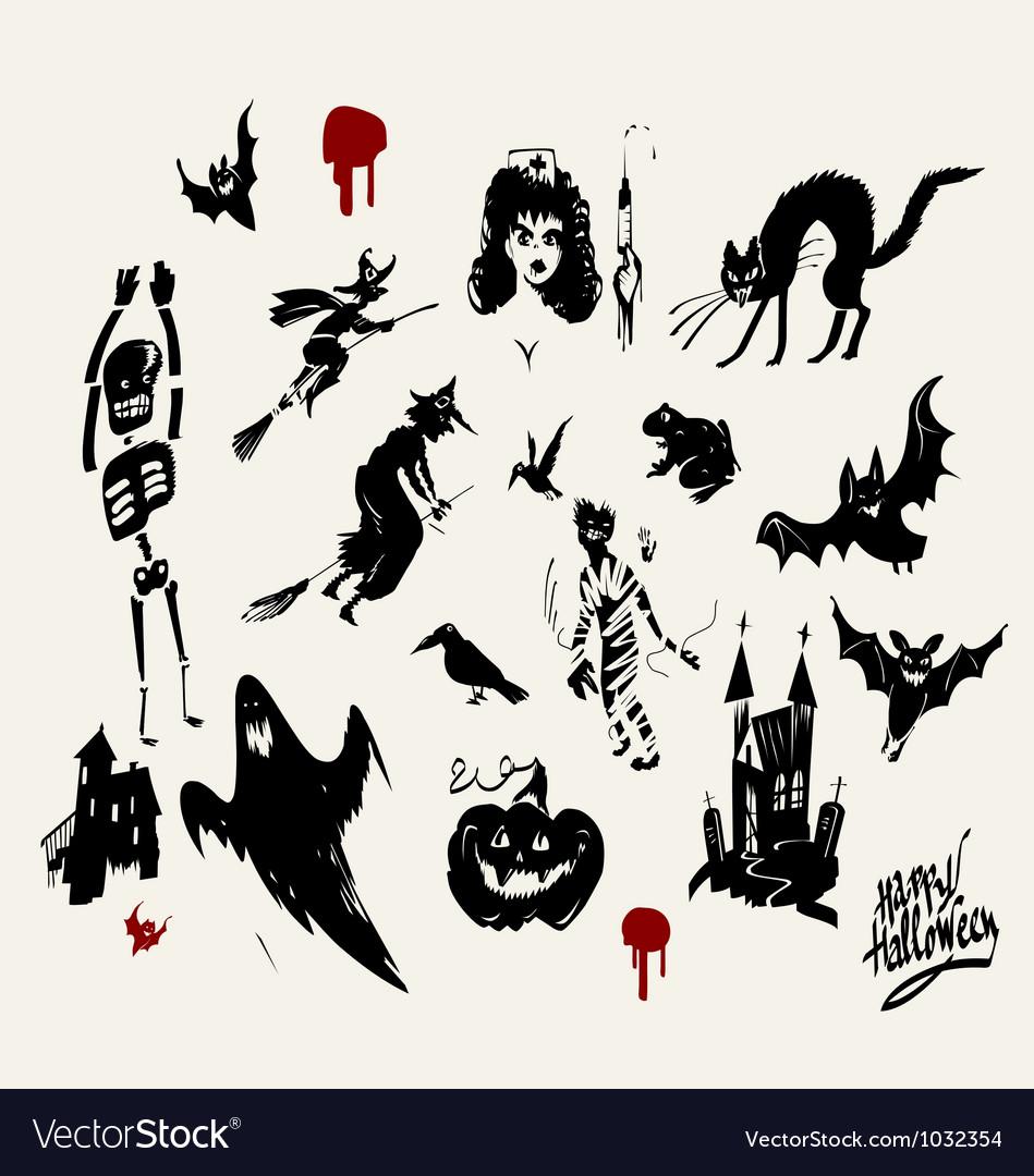 Halloween silhouette set vector   Price: 1 Credit (USD $1)