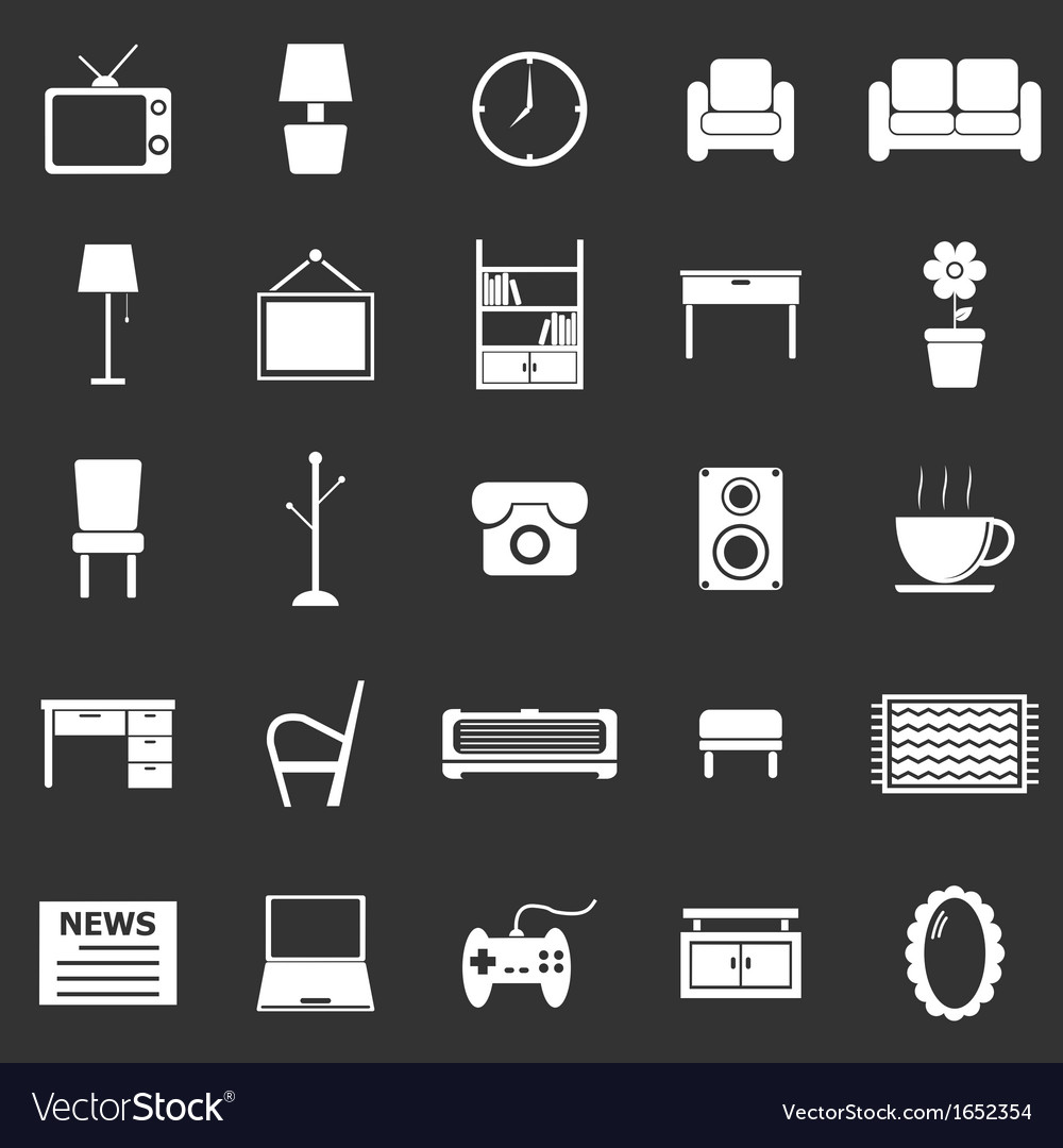 Living room icons on black background vector | Price: 1 Credit (USD $1)